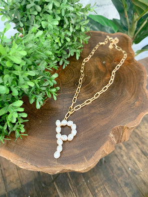 Pearl Initial Letter Necklace- P