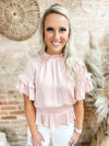 Kacie Ruffled Sleeve Smocked Peplum Top- Peach