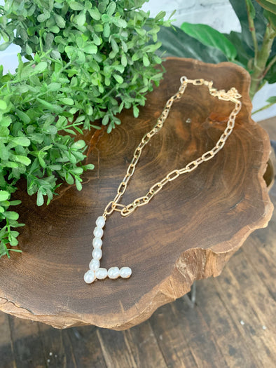 Pearl Initial Letter Necklace- L