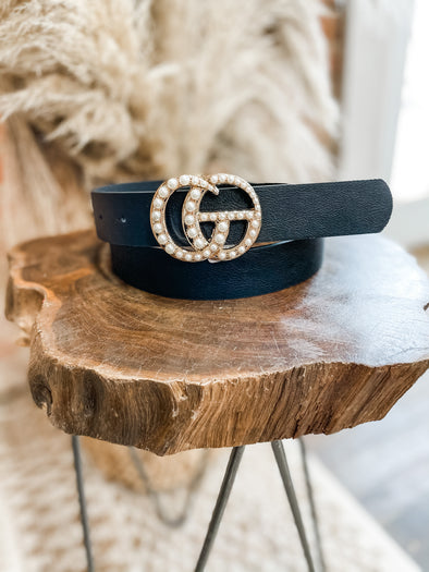 Leather GG Belt- Black