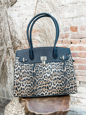 Russo Leopard Structured Tote- Black