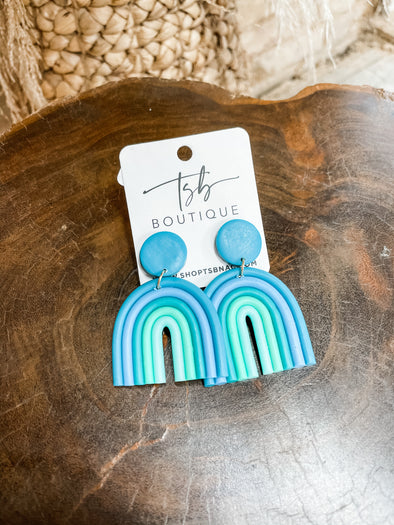 Over the Rainbow Clay Earrings- Turquoise