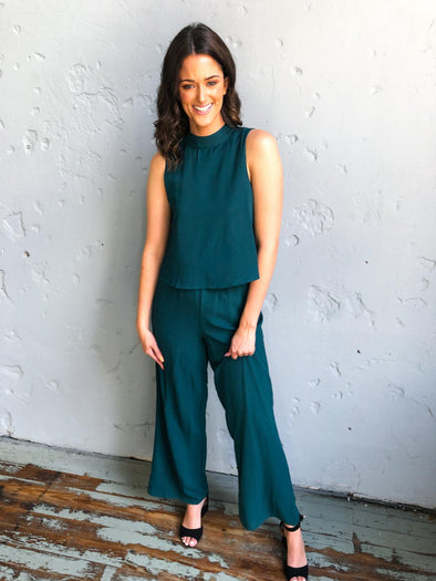 Adelyn Jumpsuit- Teal Green - Texas Bling