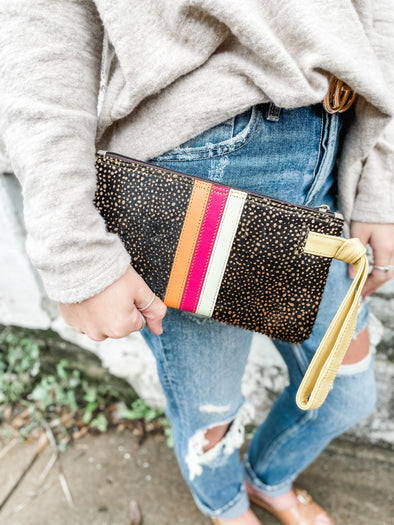 Lyla Leather Wristlet- Yellow/Brown Spotted
