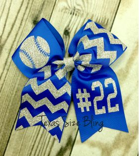 Baseball Bow with Number - Texas Bling