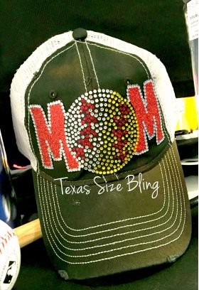 Baseball/Softball Mom Trucker Hat - Texas Bling