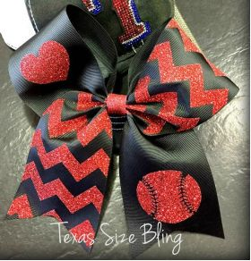 Baseball and Heart Hair Bow - Texas Bling