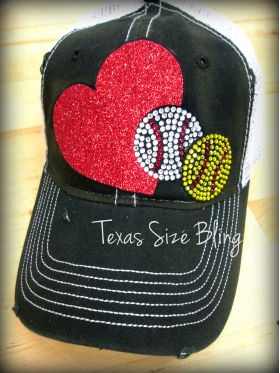Heart Baseball or Softball Hat - Texas Bling
