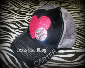 Heart Baseball or Softball Hat