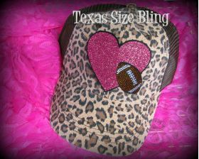 Heart Football Leopard - Texas Bling
