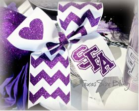 SFA Hair Bow Purple White - Texas Bling