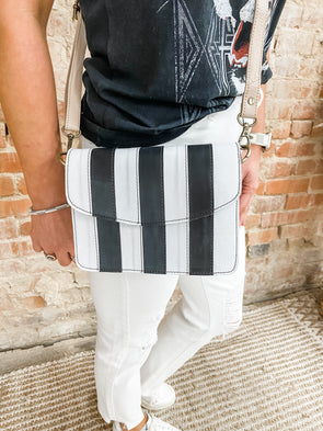 Flora Leather Crossbody- Black and White