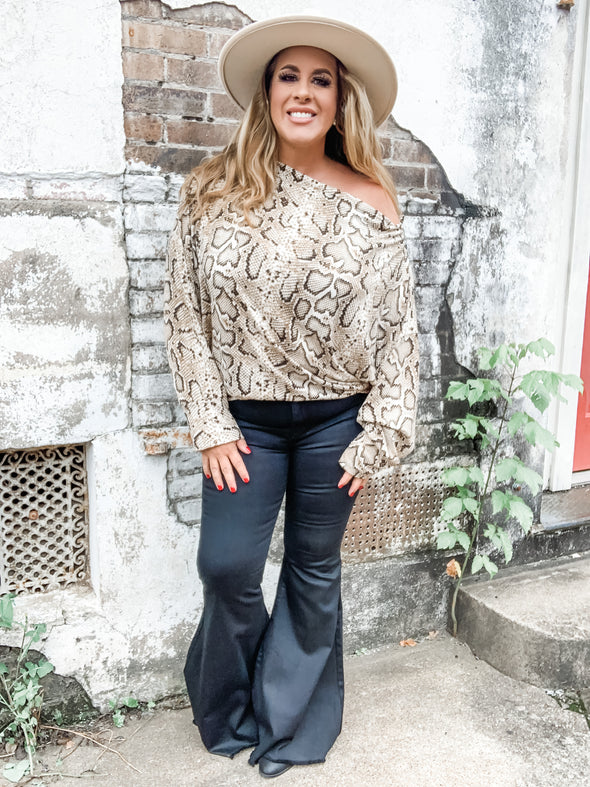 Stephanie Snakeskin Off Shoulder Sip Up Knit Top