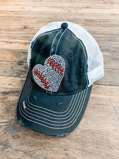 Bling Baseball Heart Hat