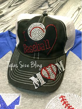 I Love Baseball Mom Hat - Texas Bling