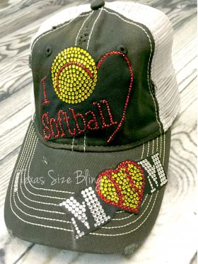 I Love Softball Mom Hat - Texas Bling