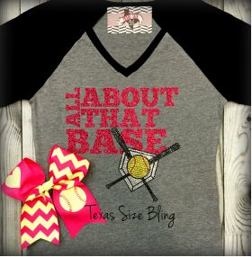 Softball Hair Bow - Texas Bling