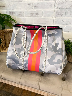 Neoprene Shoulder Bag- Gray Camo