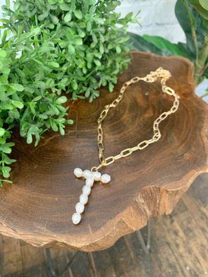 Pearl Initial Letter Necklace- T