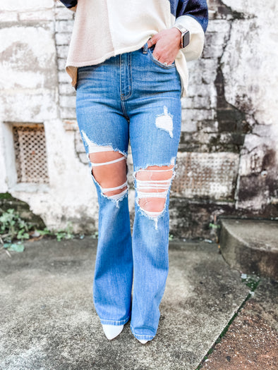 Averie High Rise Distressed Super Flare Jeans