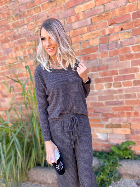 Bella Rib Knit Pants- Charcoal