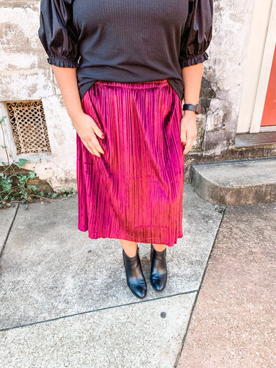 Caroline Pleated Velvet Tier Midi Skirt