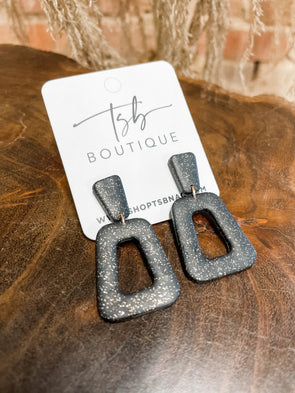 Zoey Clay Earrings- Black