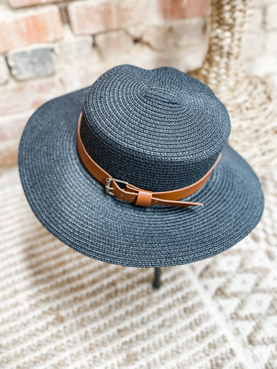Stacie Belted Bucket Straw Hat- Black