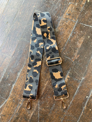 Bag Strap- Grey Ground Leopard Adjustable Strap- Gold Buckle - Texas Bling