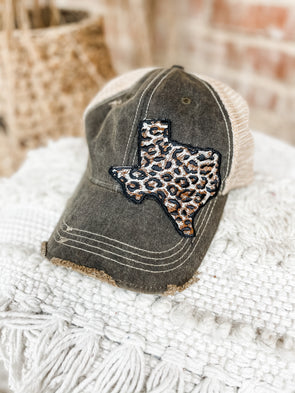 Leopard Texas Cap- Charcoal/Brown Mesh
