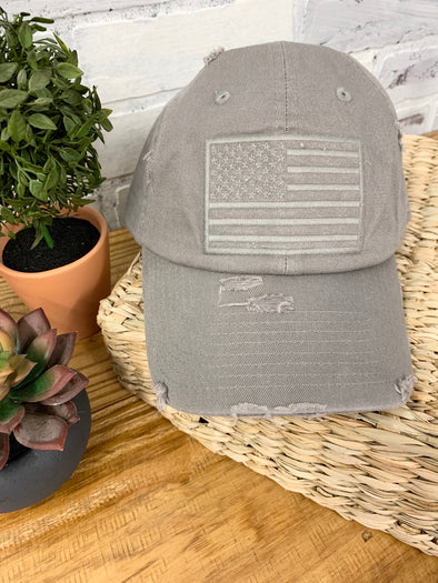 American Flag Cap- Light Grey
