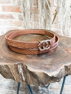Skinny GG Belt- Light Brown Snake