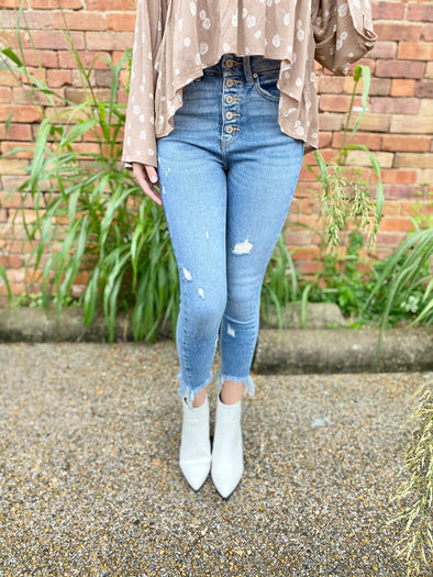 Rory Slight Distressed Fray Bottom Skinnies