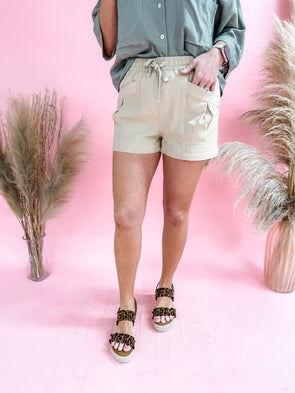 Zara Self Tie Shorts- Tan