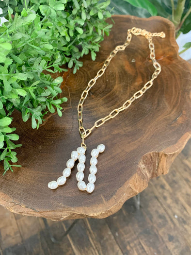 Pearl Initial Letter Necklace- N