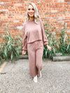 Leah Knitted Pants Set- Mocha