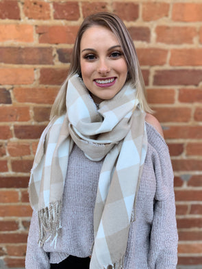 Adaline Scarf- Natural Buffalo - Texas Bling