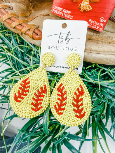 Softball Bead Earrings