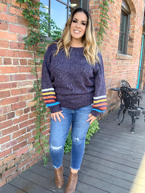 Taylor Multi Color Stripe Sleeve Sweater