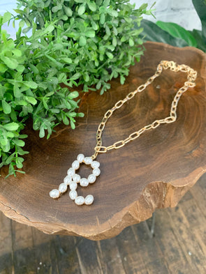 Pearl Initial Letter Necklace- R