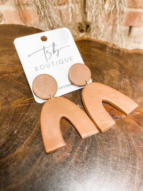 Deacon Clay Earrings- Brown