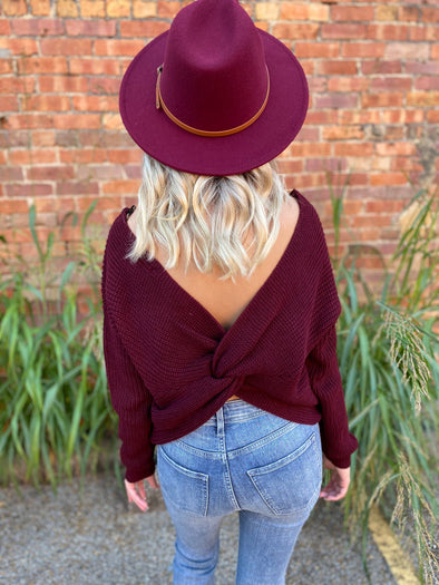 Delilah Open Twist Back Detail Sweater- Wine