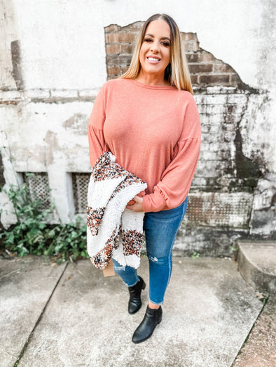 Linda Brushed Knit Drop Shoulder Top- Dusty Orange