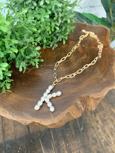 Pearl Initial Letter Necklace- K