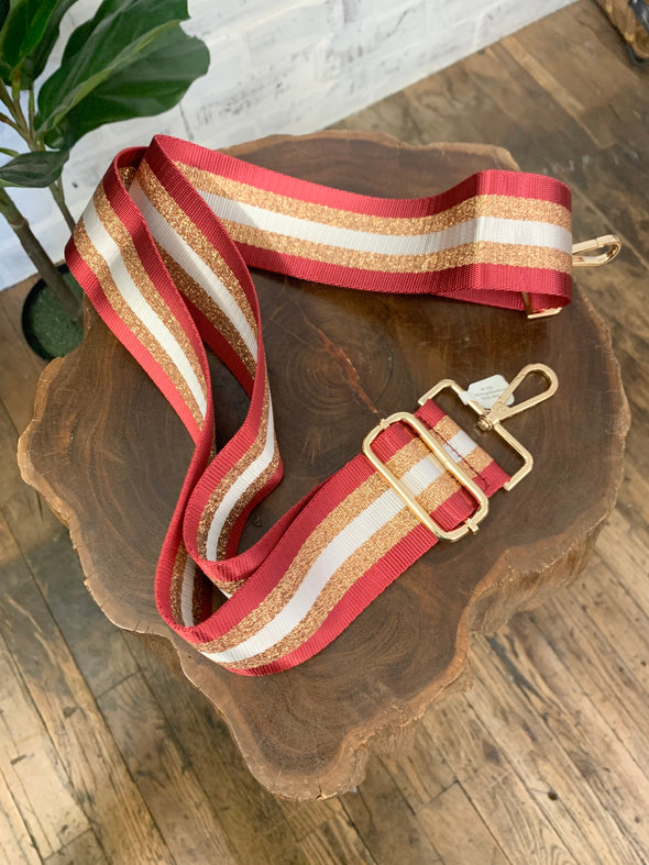 Bag Strap- Burgundy/Gold/White Stripe