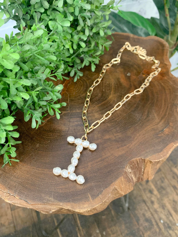 Pearl Initial Letter Necklace- I