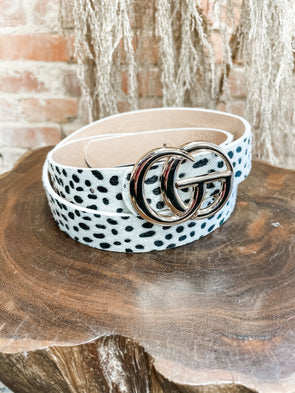 GG Belt- Fur Cheetah- White