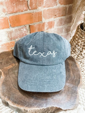 Texas Shorelines Cap- Black- White Thread
