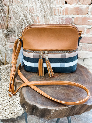 Martyn Plaid Crossbody- Brown