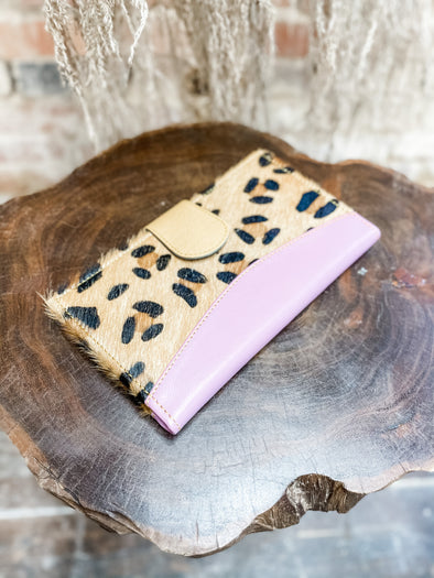 Mari Leather Wallet- Blush/Leopard